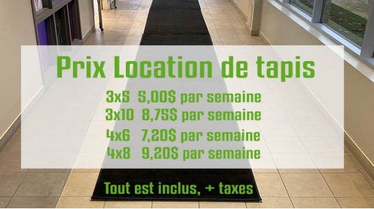 Locatapis - Service de location de tapis commercial, tapis chauffants, tapis d'entrée Hot Flake et Hot Blocks, KEMF.